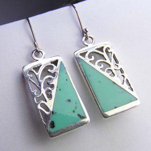 Filigree TURQUOISE Sterling Silver Dangle Earrings